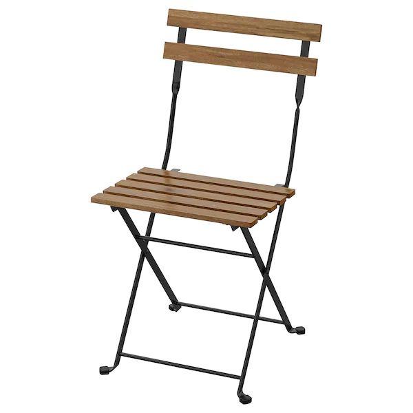 chaise pliate à lattes en bois