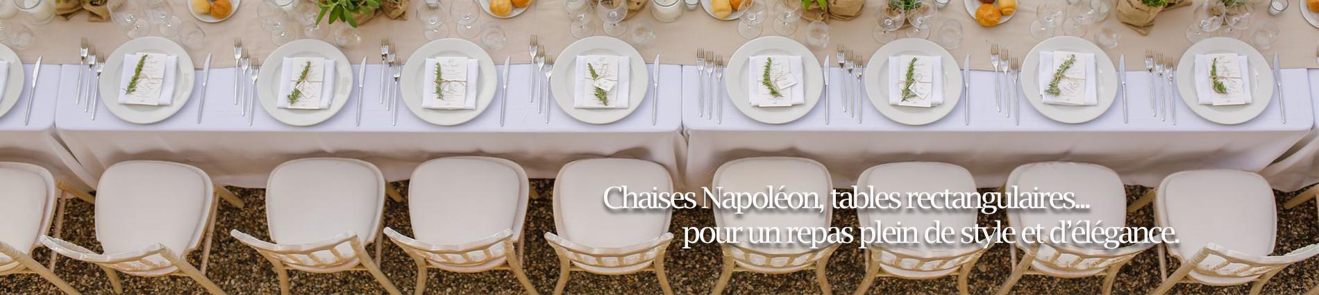 banner table rectangulaire et chaise napoléon