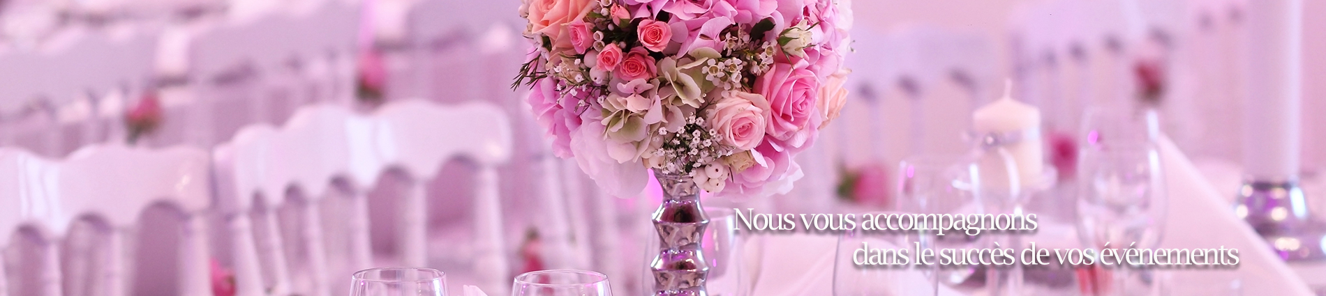 banner bouquet sur table