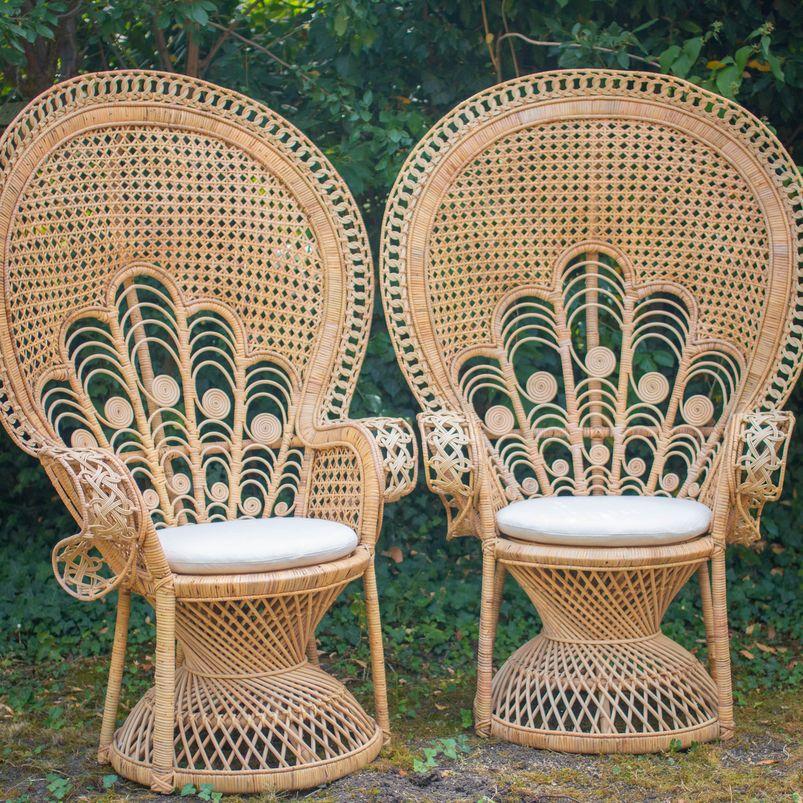 Coin des mariés avec fauteuil en rotin Emmanuelle